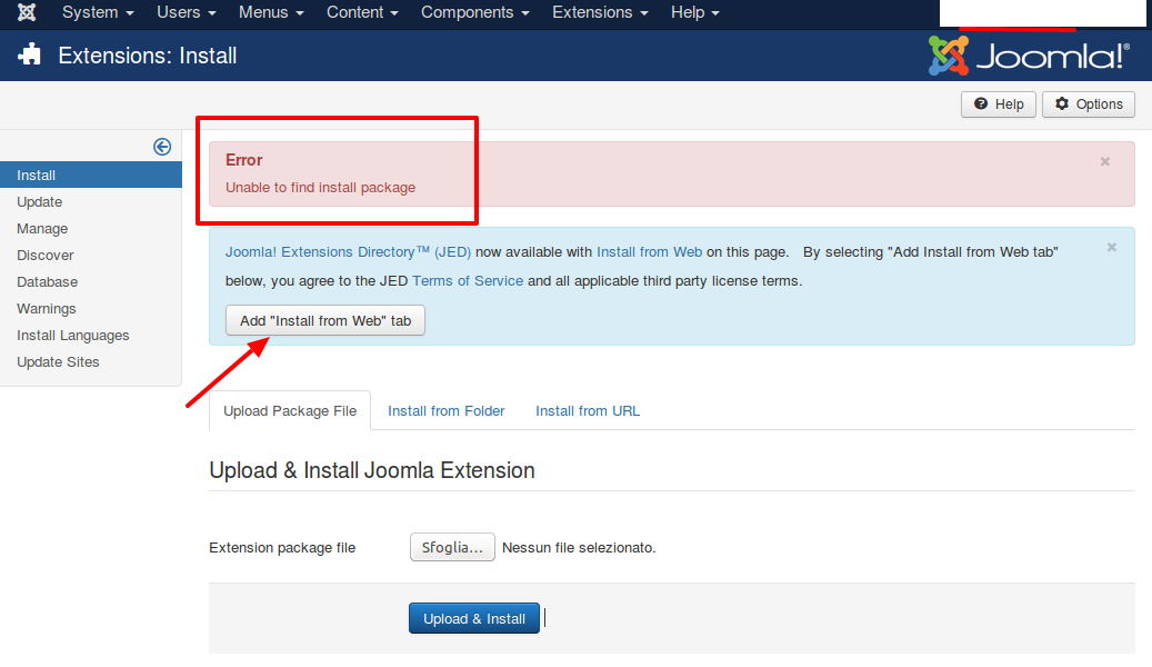 "Joomla 3.6 Mensaje de error: ""No installation plugin has been enabled. At least one must be enabled to be able to use the installer. Go to the Plugin Manager to enable the plugins."""